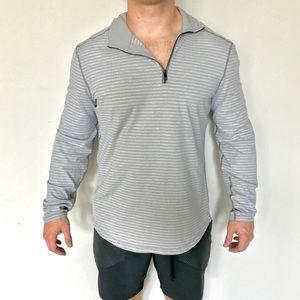 Lululemon mens light gray stripe 1/4 zip pullover